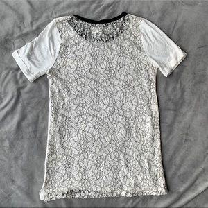 JOA | Black & White Floral Lace Back Tee